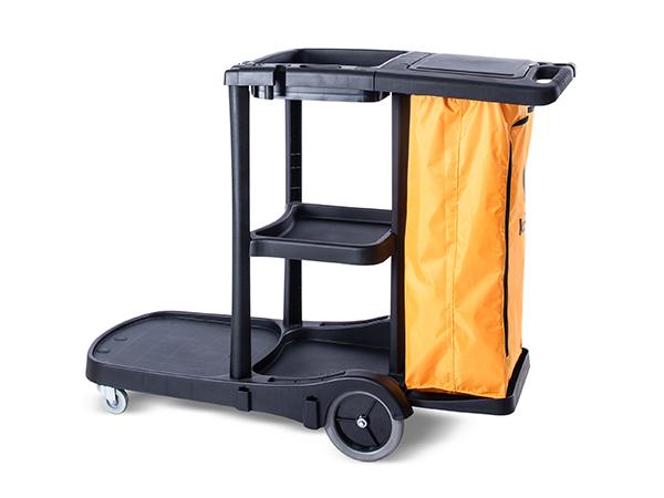 Carro funcional alta capacidade com tampa e bolsa ziper amarela
